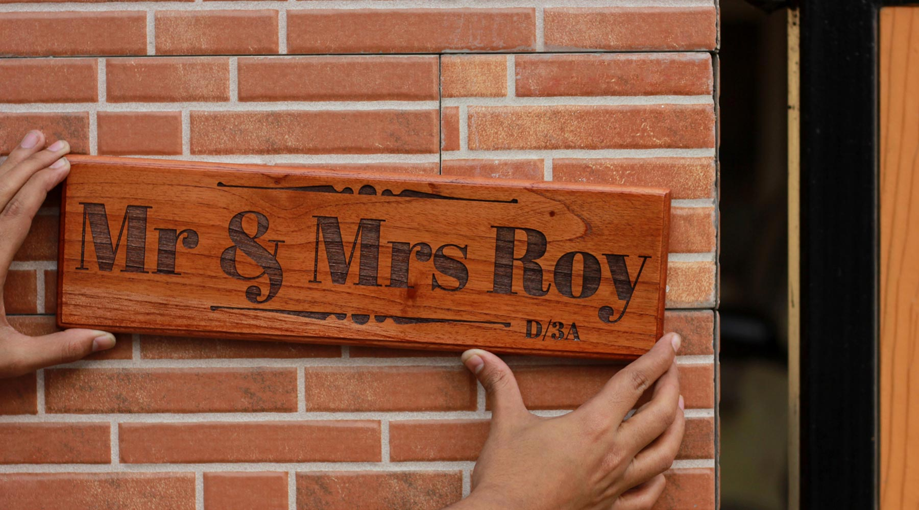 Personalized Mr & Mrs Wood Sign - Wooden nameplates with surname - Gifts for Newly Weds & Couples by Woodgeek Store