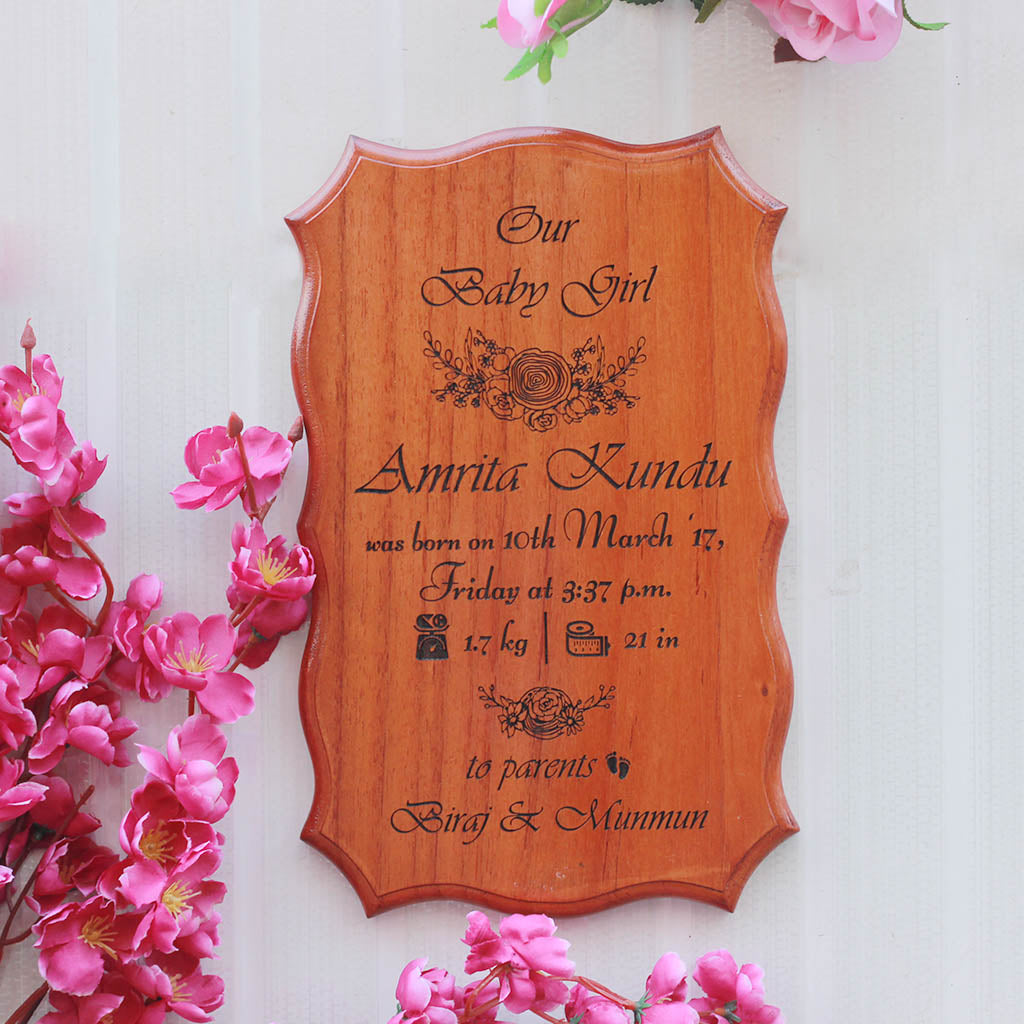 Wooden Nursery Decor - Baby Birth Announcement Wooden Certificate by Woodgeek Store