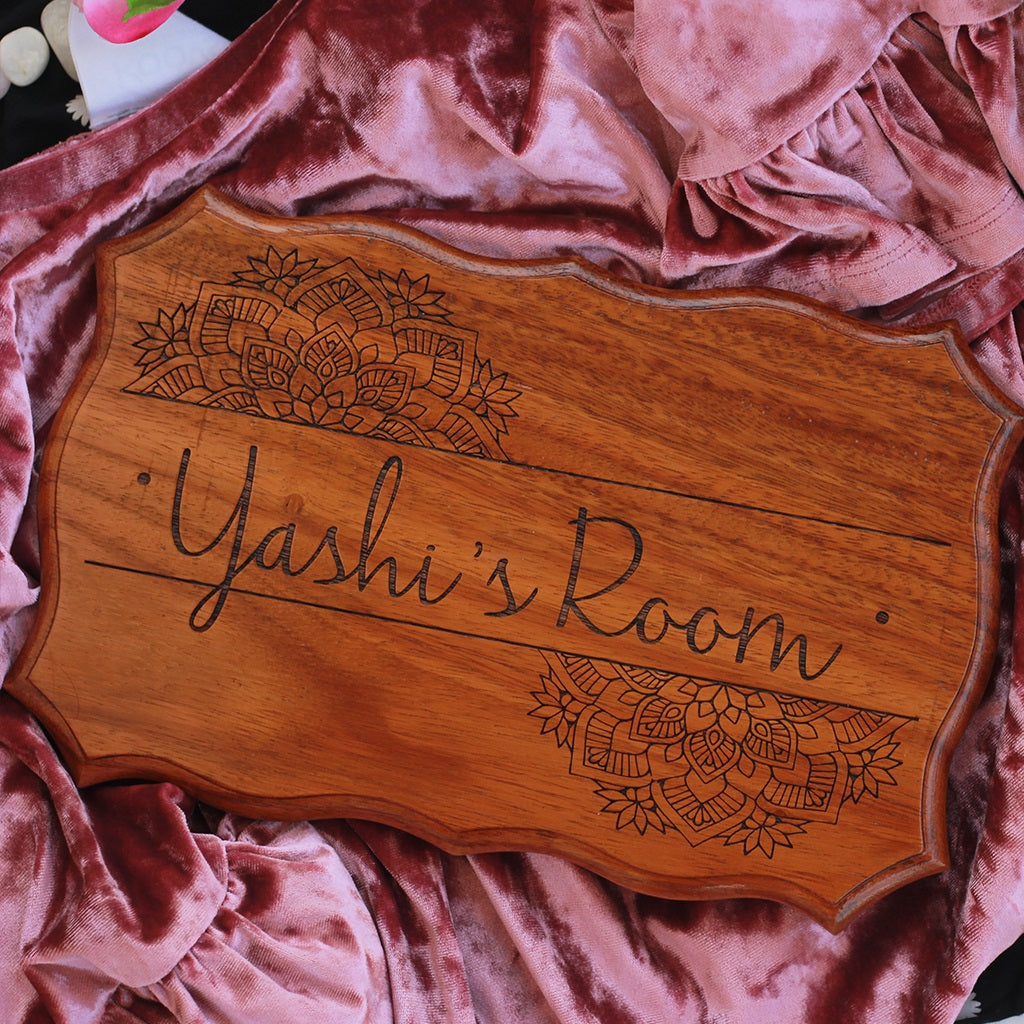 Wooden Name Sign for Bedroom Door - Personalized Wood Sign Engraved With Name by Woodgeek Store