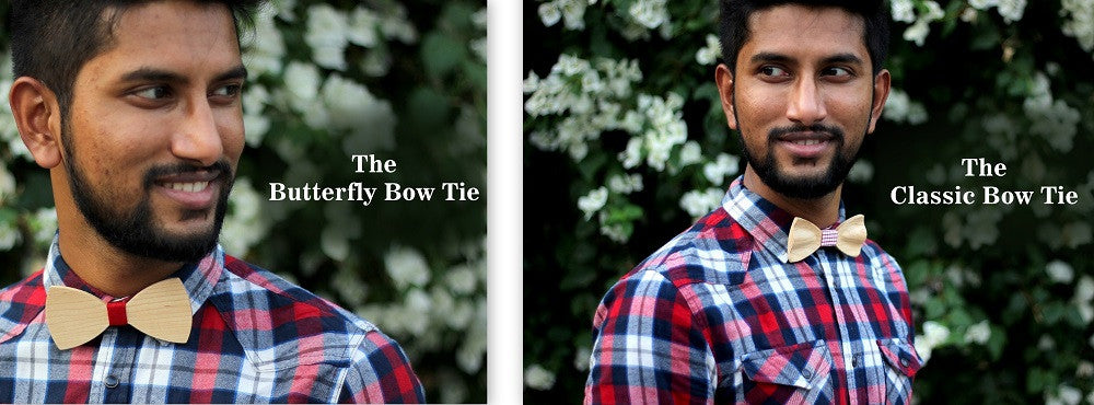 Classic Bow Tie - Butterfly Shaped Bow Tie - Wooden Bow Tie - Woodgeek Store