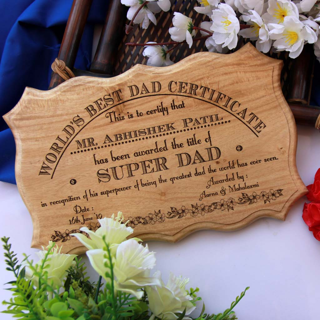 World's Best Dad Award Certificate Makes The Best Gifts For Dad. Looking for birthday gifts for dad? This Personalised Gift Is The Best Gift For Father.