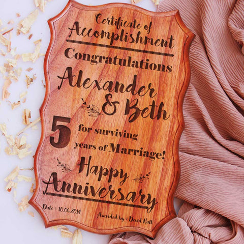 Custom Wooden Certificate Of Marriage Anniversary. This Certificate Of Accomplishment Makes The Best Anniversary Gifts For Friends. Shop More Anniversary Gifts Online From The Woodgeek Store.