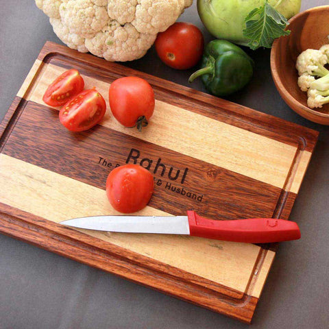 Wooden Chopping Board Personalized With Name. This Kitchen Chopping Block Makes One Of The Best Kitchen Decor Gifts For Husband Or Wife. Looking For Anniversary Gifts ? Buy The Best Kitchen Chopping Boards Personalized With Your Husband And Wifes Name From The Woodgeek Store.