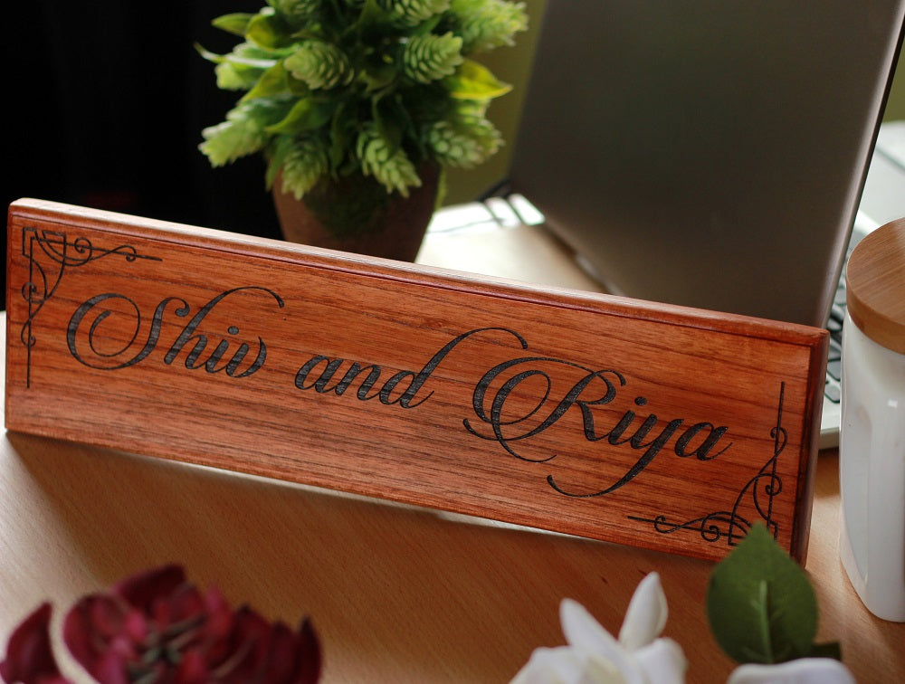 Personalized Wooden Sign for  Couples - Gifts for Newly Weds & Couples - Wooden nameplates by Woodgeek Store