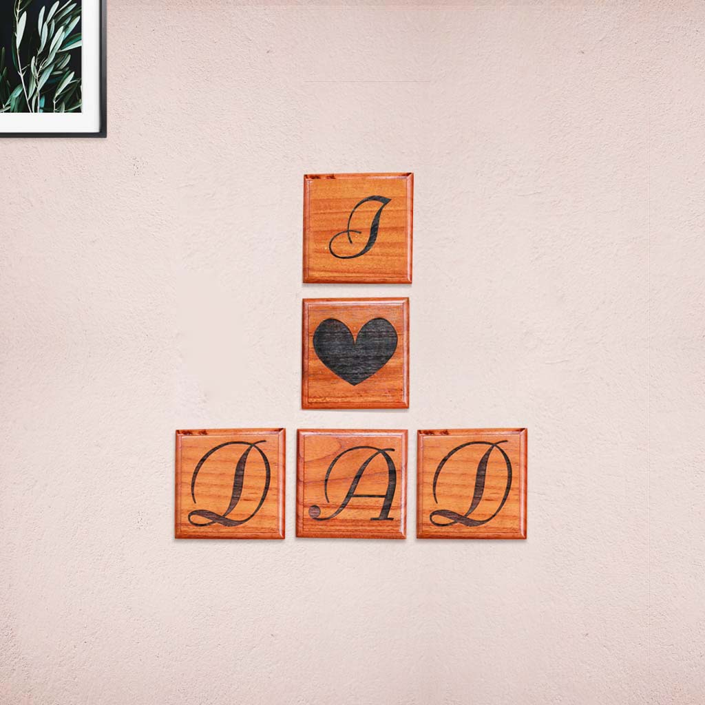 I Love Dad Wooden Customized Crossword Wall Art - This Crossword Scramble Make Affordable Father's Day Gifts - Express Love For Your Father By Forming Your Own Sentences With These Letter Wall Decor From The Woodgeek Store