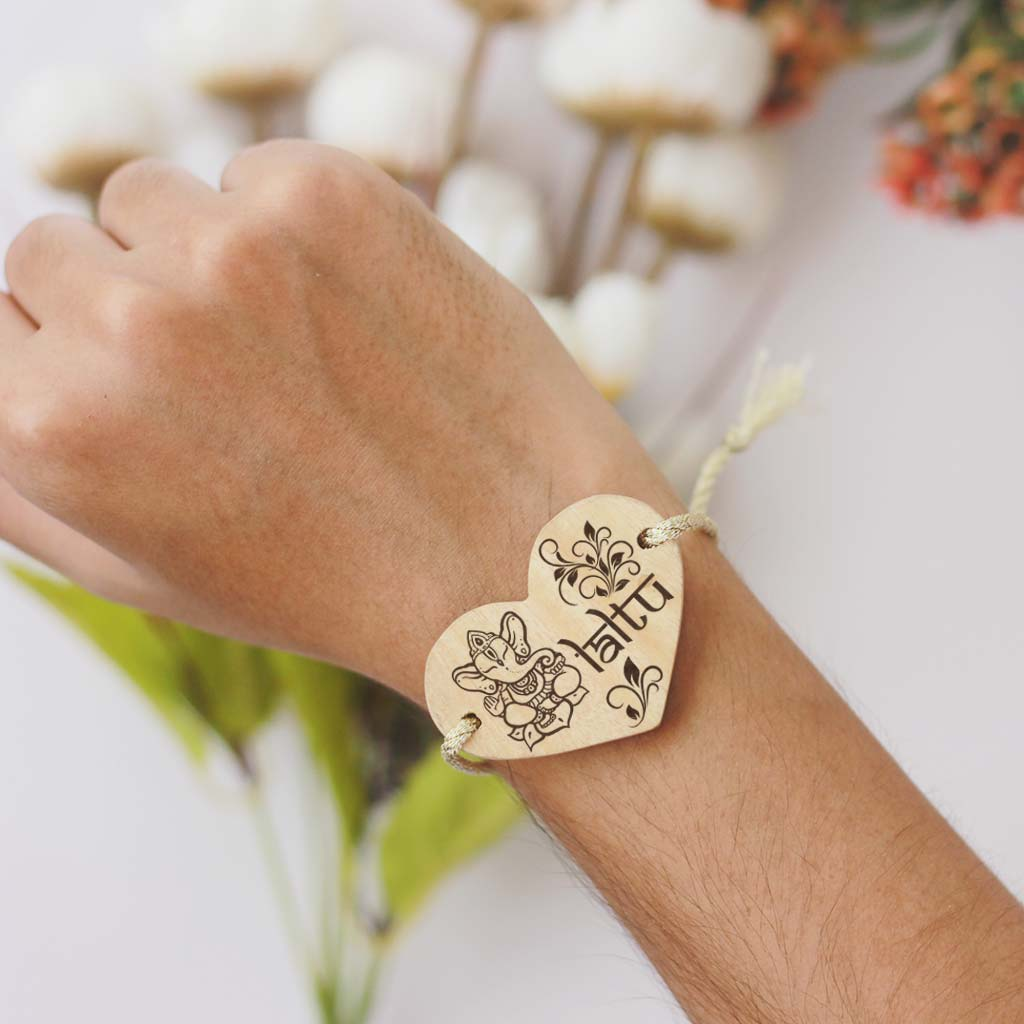 Lord Ganesha Raksha Band. This Wooden Bracelet and wooden band is a great personalized gift for Ganesh Chaturthi.