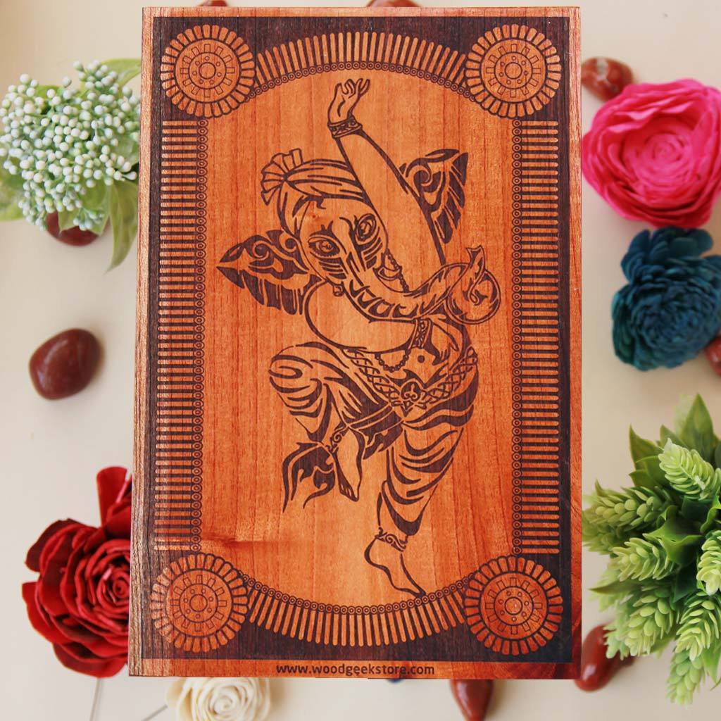 The Dancing Ganesha Carved Wooden Poster. This Ganpati Wall Art Makes A Perfect Home Decor Gift. Looking For Ganesh Chaturthi Gifts? This Lord Ganesha Poster Makes One Of The Best Gifts For Friends And Family On Ganesh Chaturthi.