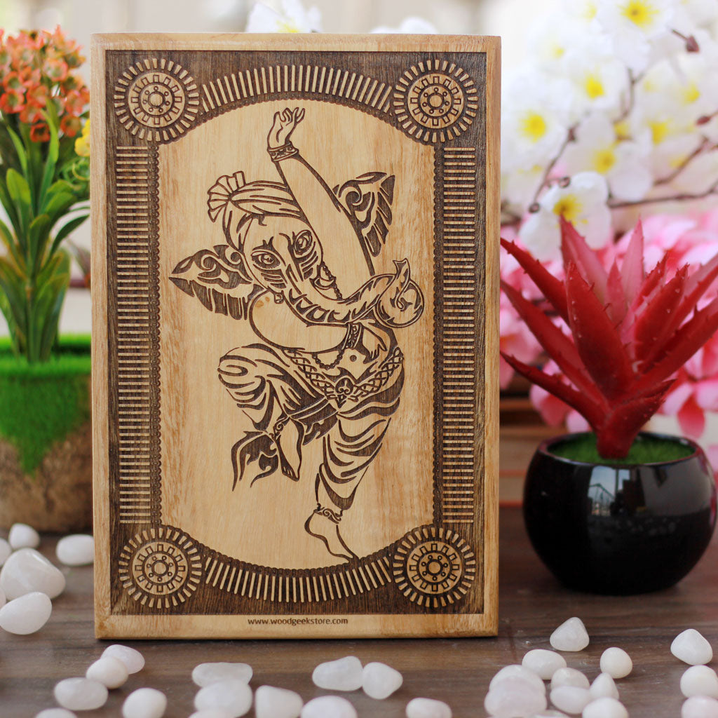 Wooden Ganesha Poster-Wooden Gifts-Best Diwali Gifts-Wooden Poster-Auspicious Diwali Gifts-Woodgeek Store