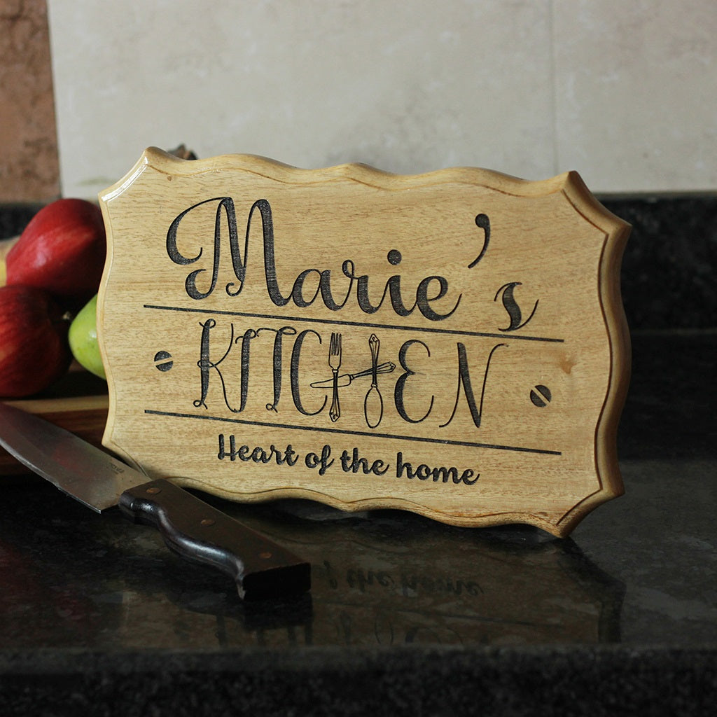 Rustic Custom Engraved Wooden Kitchen Sign With Name by Woodgeek Store