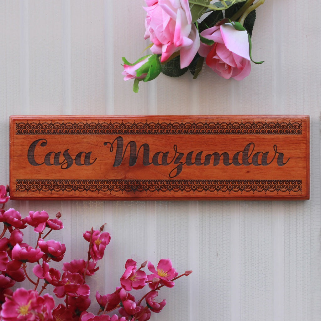 Casa Nameplate - Wooden House Name Signs - Door Nameplates for Home by Woodgeek Store