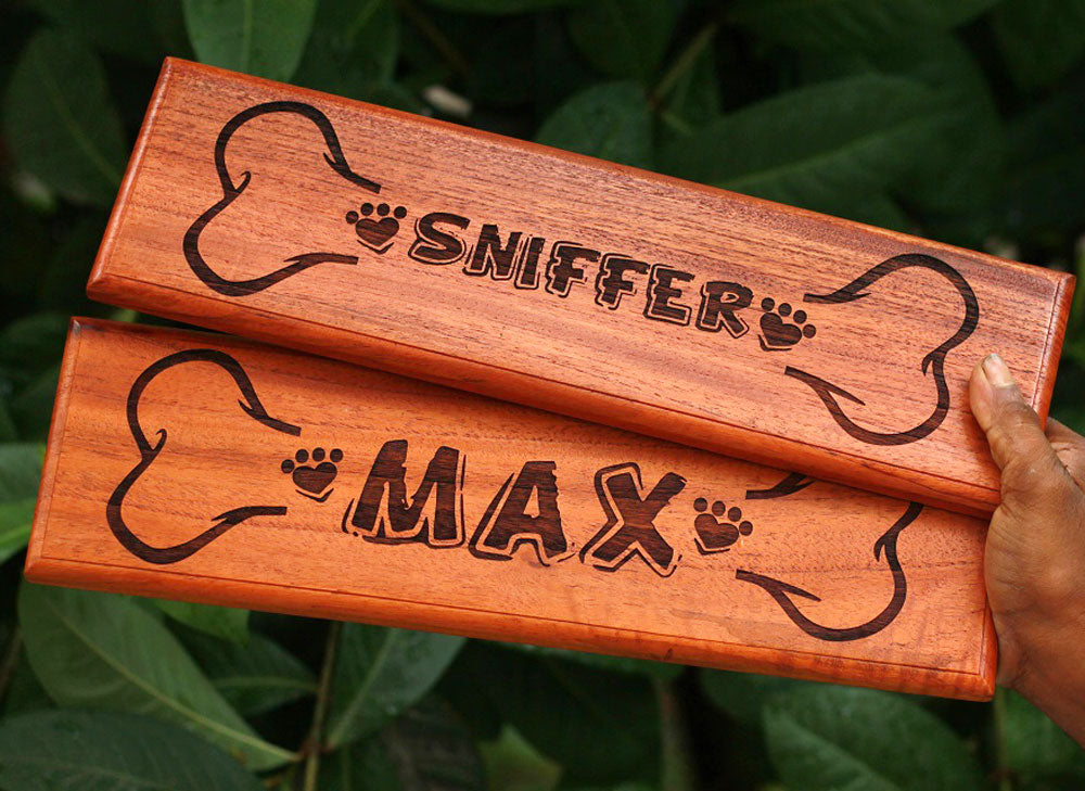 Personalized Dog House Sign - Wooden Pet Name Signs - Custom Wood Dog Signs - Pet Name Signs - Wood Carved Signs - Home Decor Accessories - Woodgeek Store