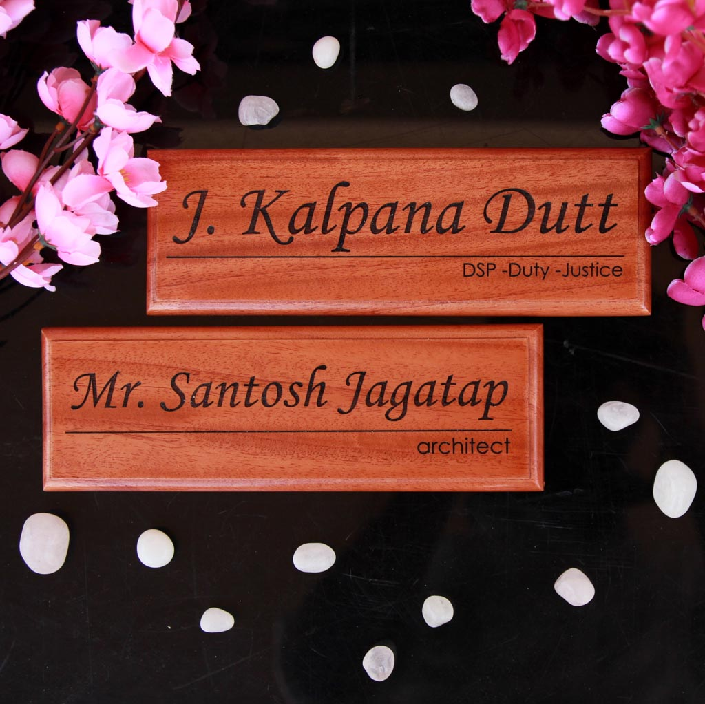 Personalized Wooden Nameplate For Office With Designation - These door name plates make professional gifts for boss - These office name plates are perfect for enhancing work desk decor