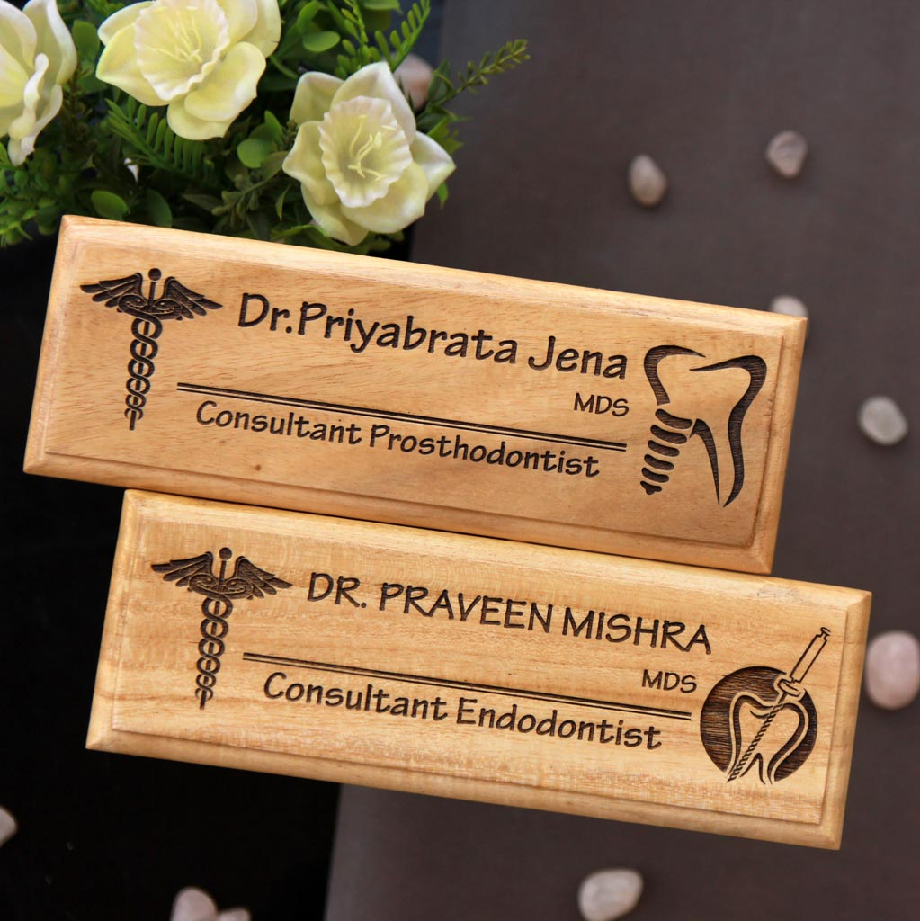 Personalized Wooden Nameplates For Doctors - This wooden desk name plate makes a great office desk accessory - Looking for gifts for doctors ? This logo engraved nameplate makes the best affordable gifts for your family physician