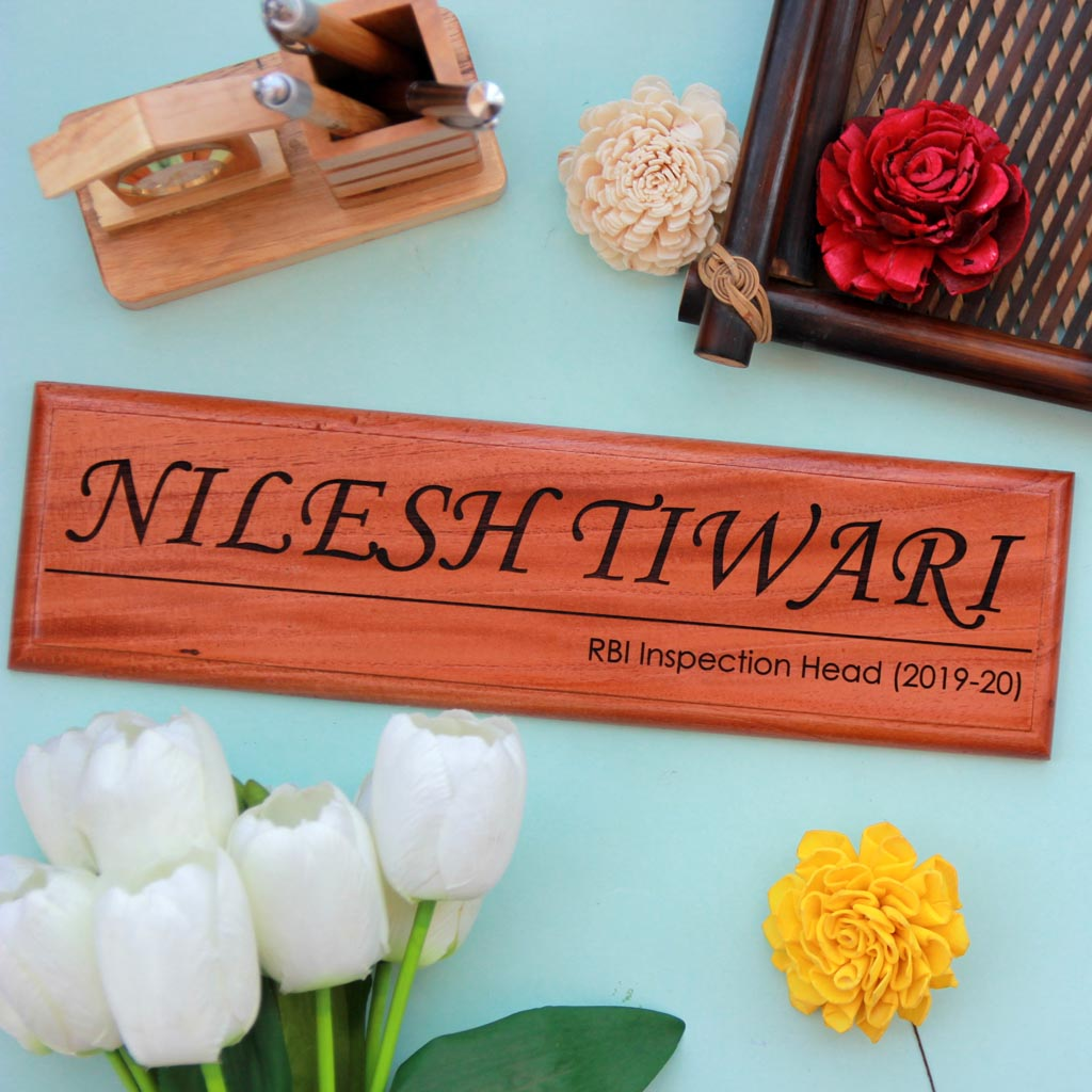 Personalized Wooden Nameplate For Office With Designation - These door name plates make cool gifts for bosses - These personalized wooden namesigns are perfect for enhancing work desk decor