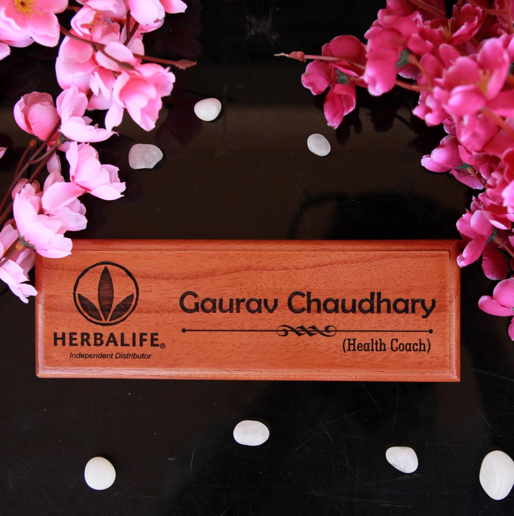 Logo Engraved Wooden Nameplate - These wooden nameplates make the best personalized engraved wooden gifts to gift your boss or office colleagues - These office name plates are one of the best office table accessories