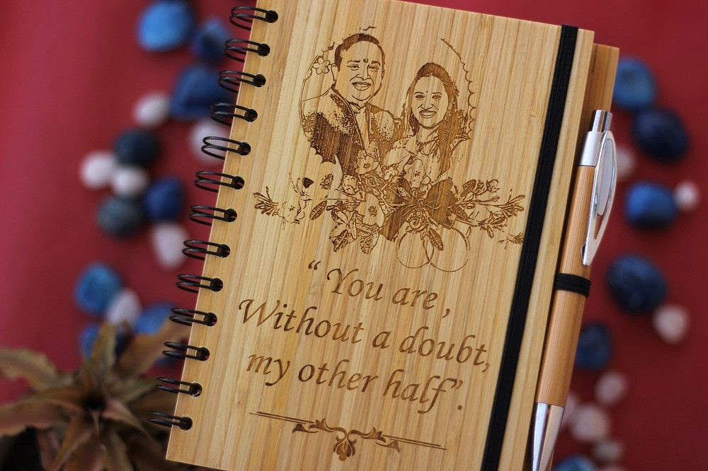 Wooden Notebook - Wedding Gifts - Best Anniversary Gifts - Wooden Gifts - Anniversary Presents - Wood Anniversary - Personalized Journal - Woodgeek Store