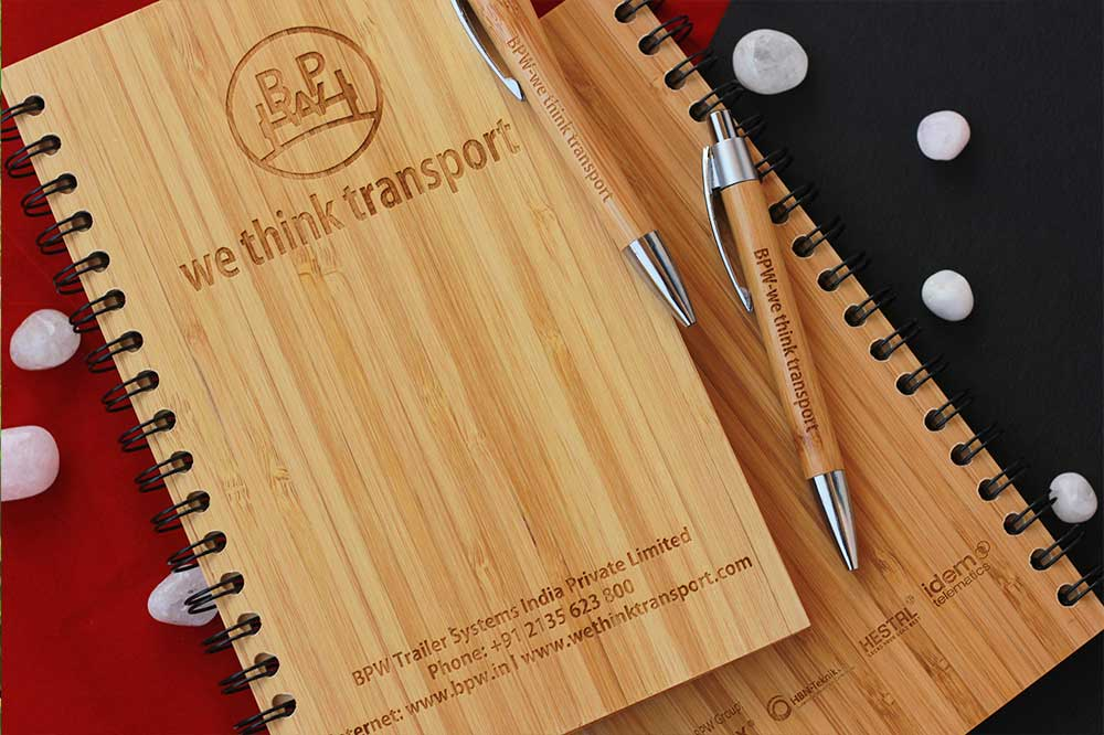Custom Notebooks Engraved With Company Name & Logo for BPW Transport. Best Personalized Corporate Gifts for Employees and Promotional Gift for Clients