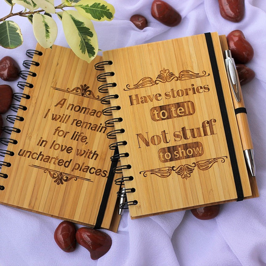 Custom Wooden Notebooks As Personalized Corporate Gifts For Banjara Ventures Pvt. Ltd. Best Corporate Gifts for Employees and Promotional gifts for clients.