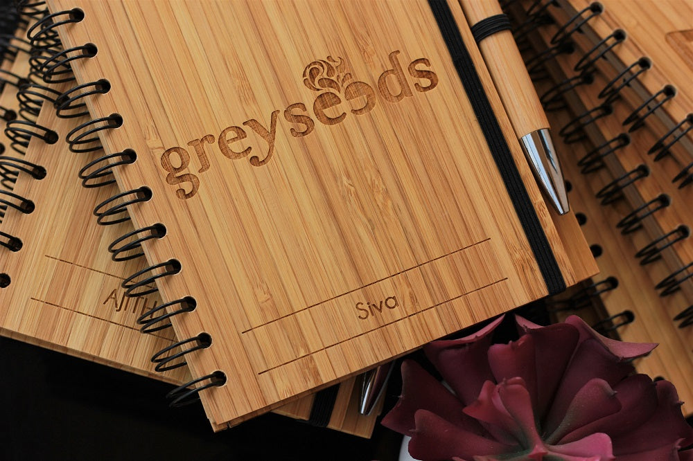 Bamboo Notebook Customized With Company Name & Each Client's Name for Greyseeds. Best Personalized Corporate Gifts for Employees and Promotional Gift for Clients