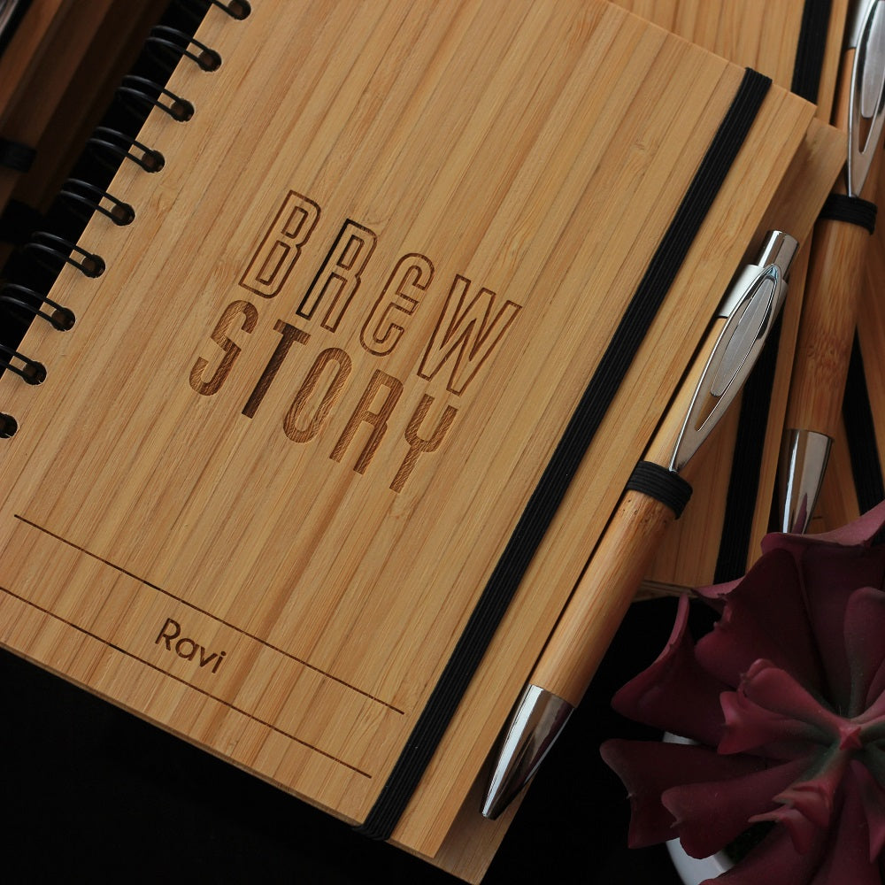 Bamboo Notebook Customized With Company Name & Each Client's Name for Brew Story. Best Personalized Corporate Gifts for Employees and Promotional Gift for Clients