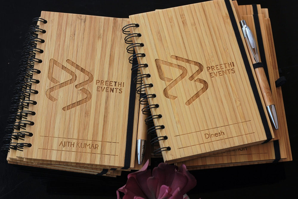 Customized Wooden Notebook For Preethi Events Engraved with Event Name & Participant's Name. Best Personalized Corporate Gifts for Employees and Promotional Gift for Clients