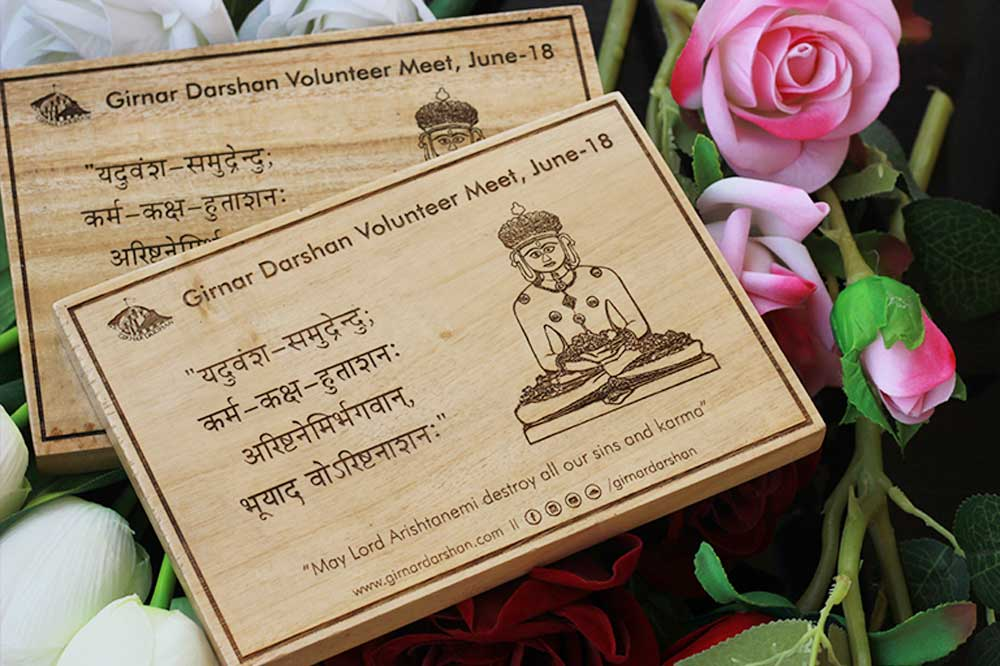 Wooden Posters Custom Engraved In Hindi For Girnar Darshan Volunteer Meet. Personalized Corporate Gifts for Clients. Buy Corporate Gifts in Bulk at Woodgeek Store