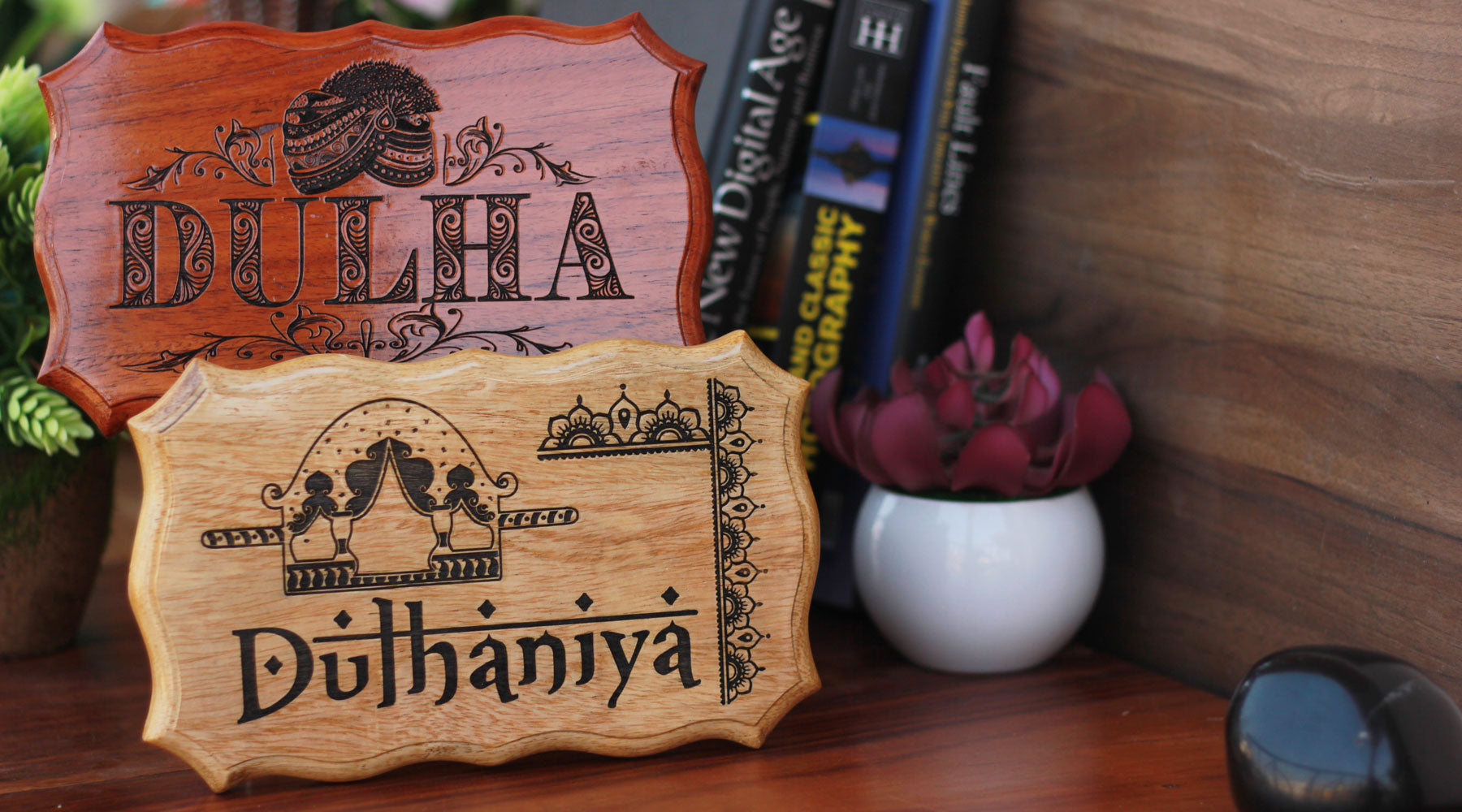 Indian Wedding Props and Accessories - Dulha Dulhan Indian Wedding Signs and Decoratives by Woodgeek Store