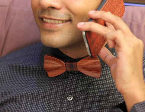 Wooden bow tie with wooden phone case Woodgeek store