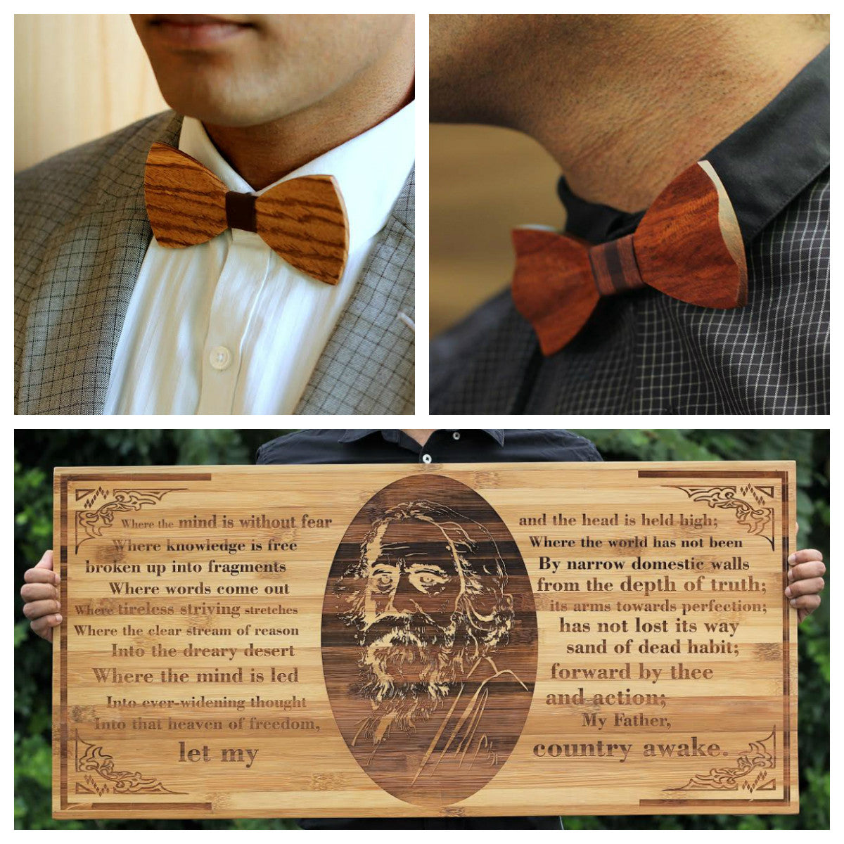 Wooden bowties and wooden wall art from Woodgeek Store