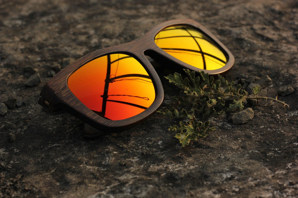 Woodgeek journeyman charcoal red mirror lens wooden sunglasses