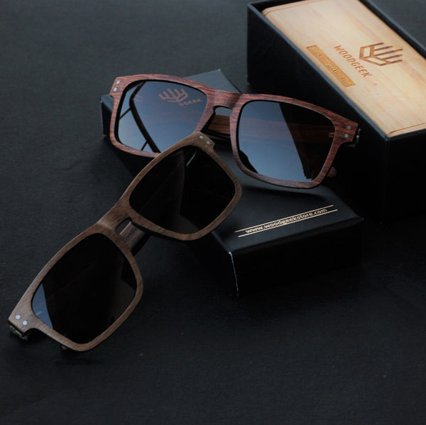 Woodgeek square wooden sunglasses navigator rosewood and walnut