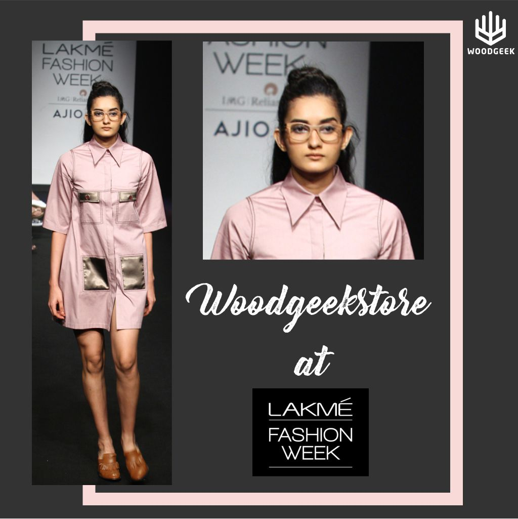 Model wearing Woodgeek Store glasses at Lakme Fashion Week