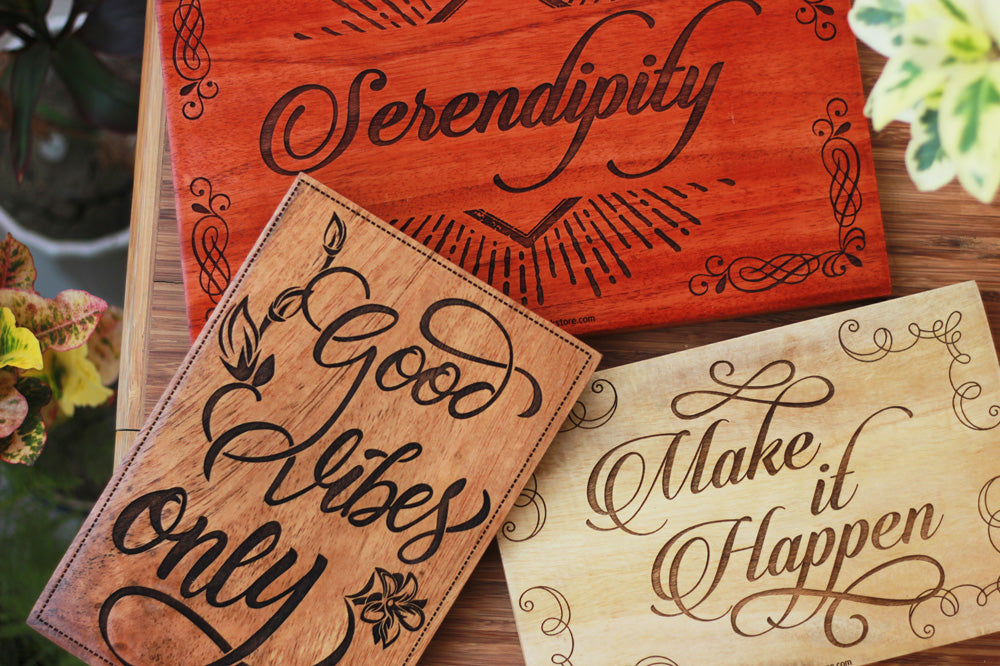 Serendipity, Good Vibes Only & Make It Happen Word Art & Wooden Typography by Woodgeek Store - Carved Wooden Posters - Wood Wall Decor