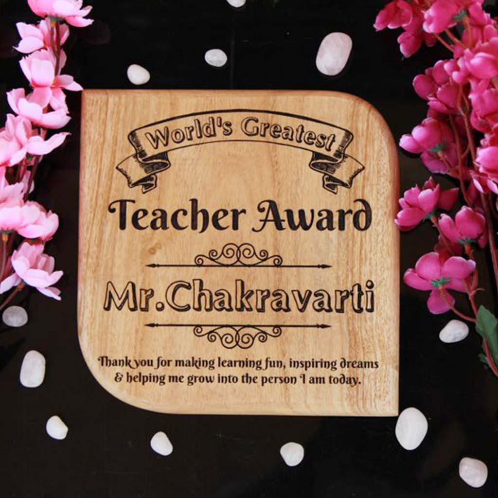 World's Greatest Teacher Wooden Award Plaque. This Custom Award Trophy Makes The Best Gifts For Teachers. Shop More Personalized Gifts For Teacher's Day From The Woodgeek Store.
