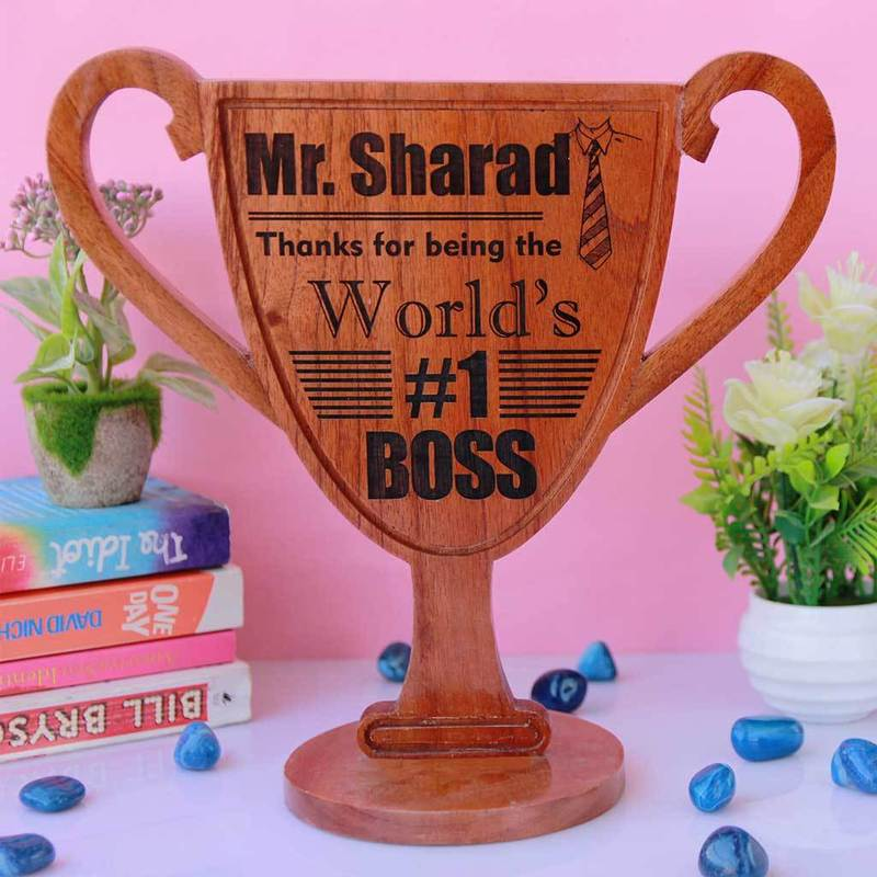Personalized Wooden Trophy Award For The World's Best Boss - This custom awards and trophies make funny office awards - This trophy plaque is a great boss appreciation gift