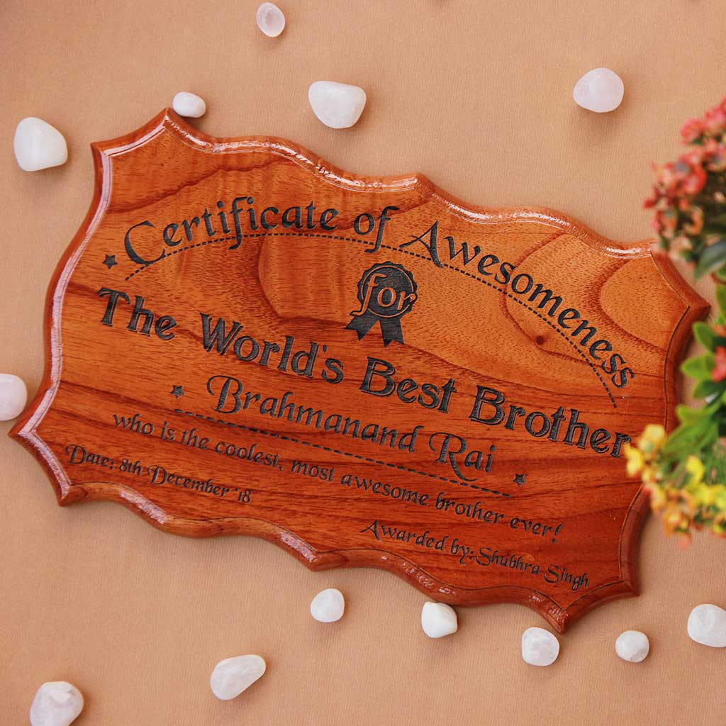 This Certificate of Appreciation For The World's Best Brother Is The Best Birthday Gift For Brother. Looking for gifts for brother? This Birthday Greetings Engraved On This Fun Award Certificate Is A Great Personalized Gift.
