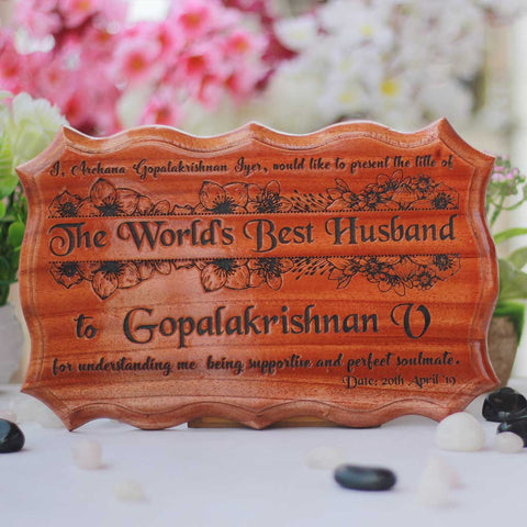World's Best Husband Wooden Certificate. This Certificate Of Appreciation Makes The Best Anniversary Gifts For Him. Looking For Best Husband Gifts ? This Personalized Gift Makes The Best Gift For The 5th Wedding Anniversary.