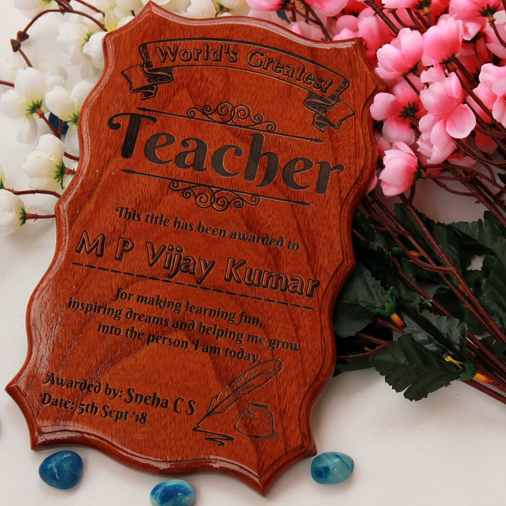 World's Greatest Teacher Certificate of Appreciation - Best Teacher Gifts - Thank You Teacher Gifts - Teacher's Day Gifts in India
