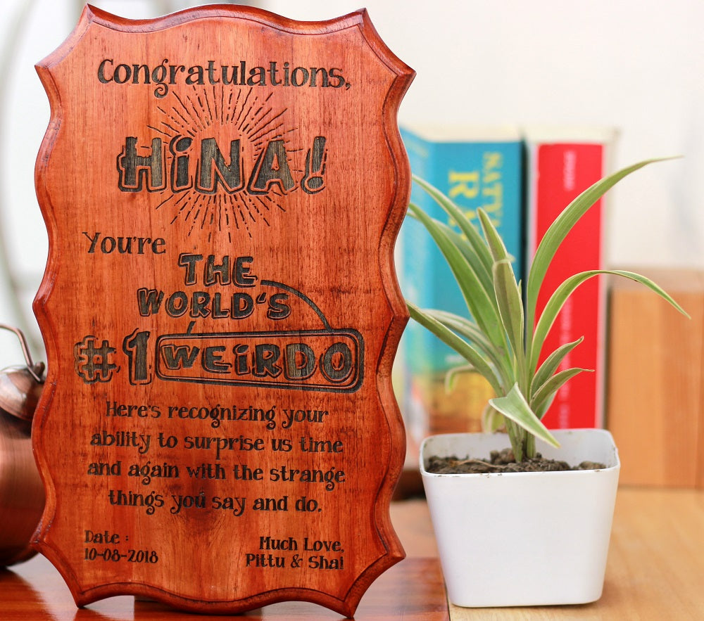 Gifts for Brothers - Gifts for Sisters - Rakhi Gifts - Personalised Gifts - Humorous Certificates of Appreciation - World's No. 1 Weirdo Award - Woodgeek Store