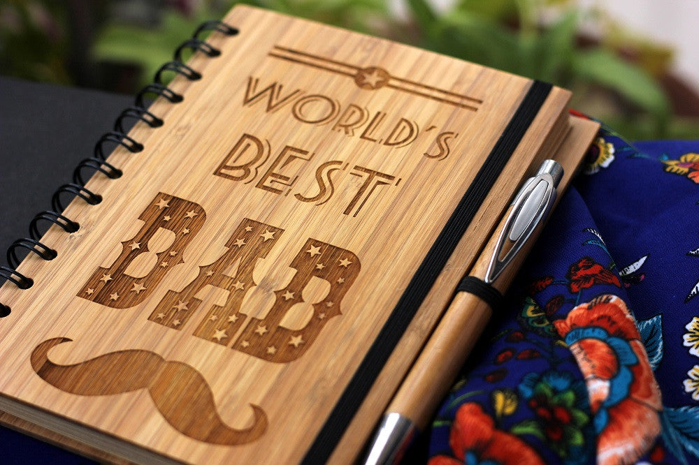 World's Best Dad Wooden Notebook - Best Father's Day Gifts - Woodgeek Store
