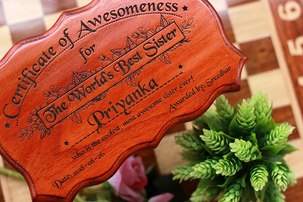 Gifts for Brothers - Gifts for Sisters - Rakhi Gifts - Personalised Gifts - Certificate of Appreciation - Certificate of Awesomeness for The World's Best Sister - Woodgeek Store