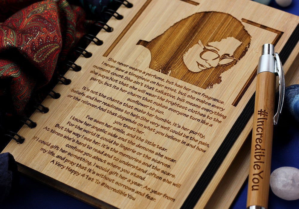 A Writer's Journal or Poetry Journal - Custom Bamboo Wood Notebook - Woodgeek Store
