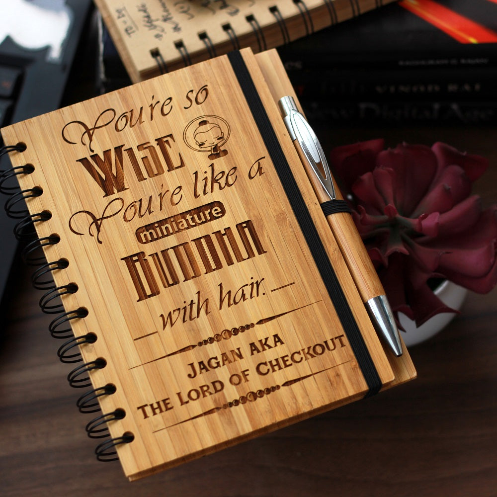 You're so wise , you are like a miniature buddha bamboo wood notebook- Birthday gift for best friend - Woodgeek Store