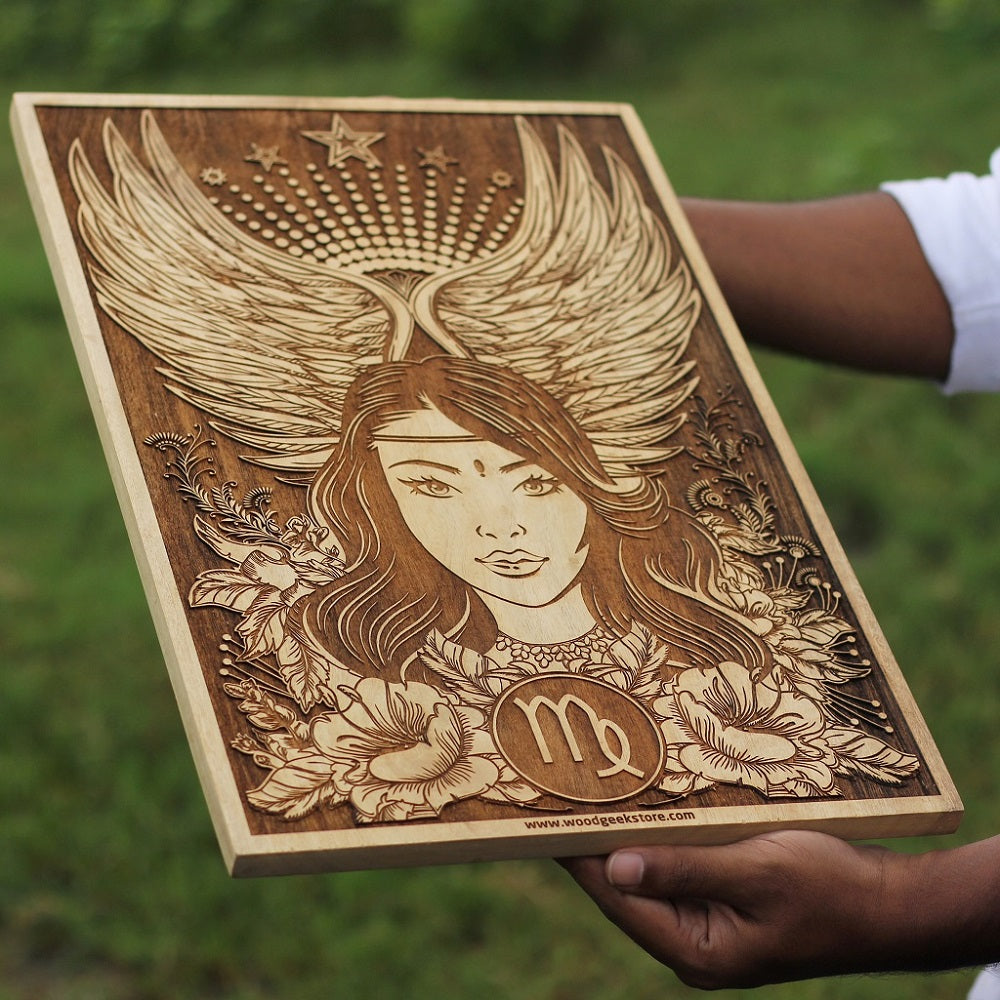 Virgo poster- wood  poster-  Zodiac Sign Artwork - Birthday Gifts for friends - Woodgeek Store