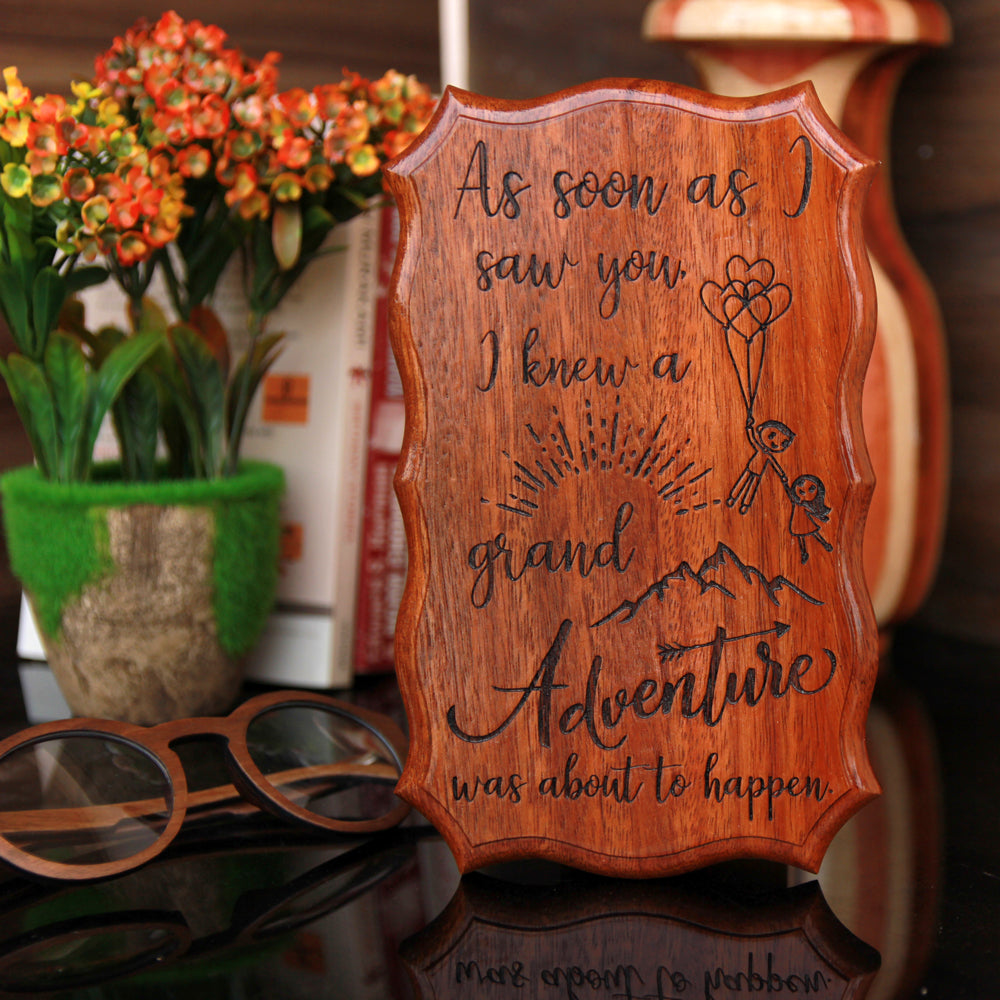 A Grand Adventure Wood Sign - Wooden Products Online - Wooden Plaques With Sayings - Best Love Gifts - Couple Romantic Gifts - Cute Gifts For Valentines Day - Wooden Wall Signs - Wooden Signs With Sayings - Woodgeek - Woodgeekstore