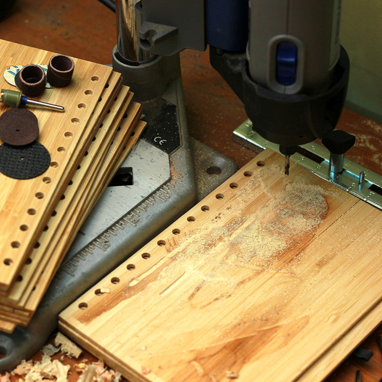 bamboo-wood-boards-being-drilled-at-woodgeek-workshop