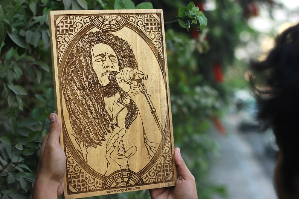 Bob Marley Carved Wooden Poster - Engraved Wooden Poster - wall posters online - Music Poster - birthday gift ideas - wooden posters online - cool gifts - Sagittarius Zodiac - best birthday presents - unique gift ideas - wood art - woodgeekstore