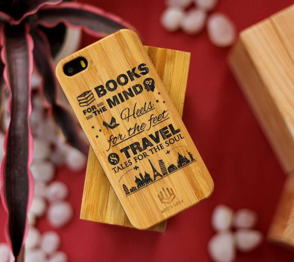 Books are for minds, Heels are for feet and Travel Tales for soul wooden phone case - personalized cell phone case - wooden iPhone case - gift ideas for a Sagittarius  - gift ideas - gifts for friends - good gift ideas - engraved phone case - cool iphone covers - carved wood cases - Custom gift ideas - engraved wooden phone cases - woodgeekstore