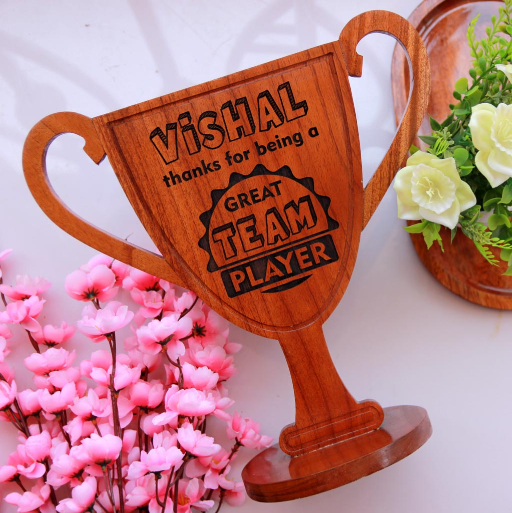Best Team Player Wooden Trophy Award - This personalized trophy is a great appreciation award for boss - Buy more cool gifts for bosses online from the Woodgeek Store