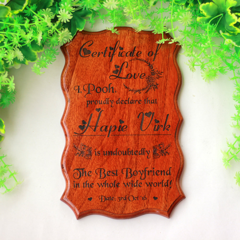 Certificate Of Love - Love Gift - I Love You Gifts - Certificate Design Online - Engraved Wooden Gifts - Valentine's Day Presents - Custom Made Certificates - Wood Certificate Plaque - Wood Material - Romantic Gifts - Woodgeek - Woodgeekstore